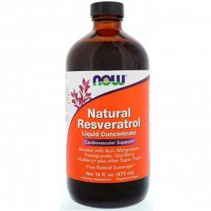 Now Foods. Жидкий концентрат натурального ресвератрола. 16 жидких унций (473 мл)