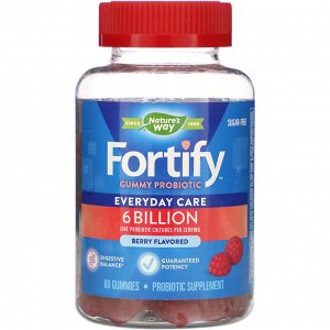 Nature&#x27 - s Way, Fortify Gummy Probiotic, Sugar-Free, Berry Flavored, 6 Billion, 60 Gummies