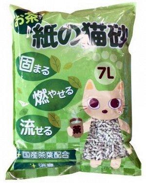 Наполнитель для кошачьего туалета SOKAI DRUG (из переработанной бумажной пульпы) с экстрактом Зеленого чая смываемый, 7л