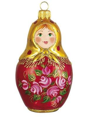 Елочная игрушка из стекла Чайная роза. Матрешка