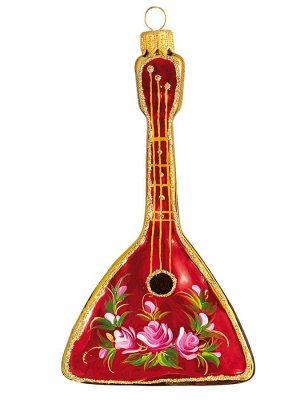Елочная игрушка из стекла Чайная роза. Балалайка