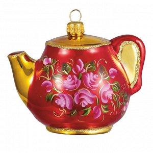 Елочная игрушка из стекла Чайная роза. Чайник