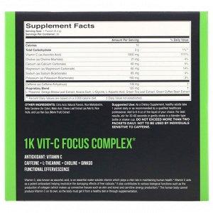 1Kvit-C, Витамин C, повышение концентрации, шипучая смесь для приготовления напитка, натуральный апельсиновый вкус, 1000 мг, 30 пакетиков по 6,4 г (0,23 унции)