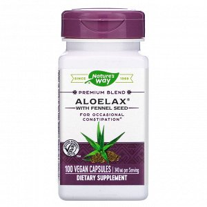 Nature&#x27 - s Way, Aloelax with Fennel Seed, 340 mg, 100 Vegan Capsules