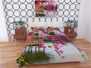 Фотопокрывало 1,5 спальное Цветы в китайском парке