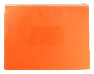 Папка на молнии ZIP Бюрократ Double Neon DNEBPM5AOR A5 полипропилен оранжевый карм.для визит. цвет м