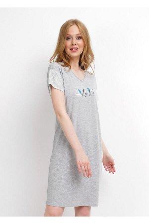 #99967 Платье меланж серый