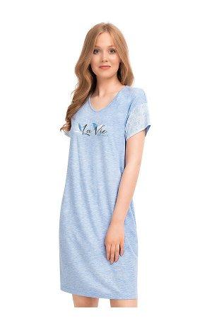 #99966 Платье меланж голубой