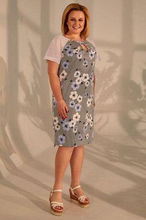 Платье Golden Valley Артикул: 4388 полоска+голубые.цветы