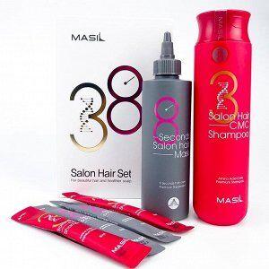 Masil 3 Salon Hair CMC Shampoo 300мл+2шт(8мл) + Masil 8 Second Salon Hair Mask 200мл+2шт(8мл) Набор по уходу за волосами