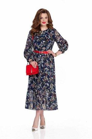 Платье Платье TEZA 635 синий  Состав ткани: Вискоза-20%; ПЭ-80%;  Рост: 164 см.  Нарядное шифоновое платье свободного силуэта с отрезной линией талии и с оборкой по низу. Рукав втачной объемный, длин