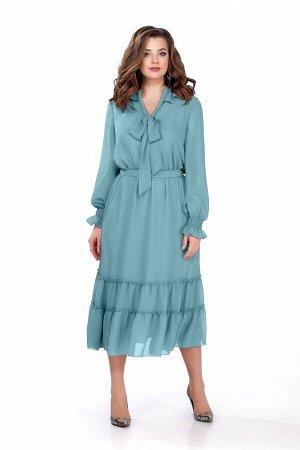Платье Платье TEZA 157 голубой  Состав ткани: Вискоза-20%; ПЭ-80%;  Рост: 164 см.  Платье приталенного силуэта из мягкой струящейся ткани. Платье отрезное по талии. Рукав втачной по низу собранный на