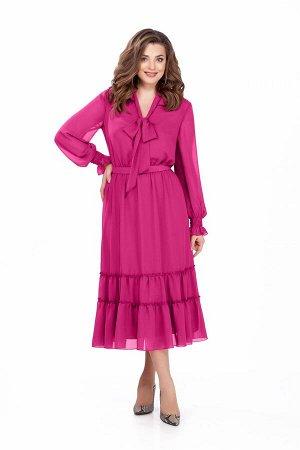 Платье Платье TEZA 157 розовый  Состав ткани: Вискоза-20%; ПЭ-80%;  Рост: 164 см.  Платье приталенного силуэта из мягкой струящейся ткани. Платье отрезное по талии. Рукав втачной по низу собранный на