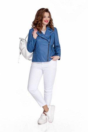 Куртка Куртка TEZA 948 голубой  Состав ткани: Вискоза-10%; ПЭ-90%;  Рост: 164 см.  Модная кожаная куртка-косуха. Пиджачный воротник, небольшие кокетки и подрез по переду. Застежка на молнию, прорезны