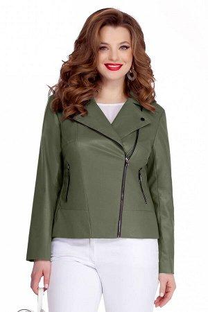Куртка Куртка TEZA 948 хаки  Состав ткани: Вискоза-10%; ПЭ-90%;  Рост: 164 см.  Модная кожаная куртка-косуха. Пиджачный воротник, небольшие кокетки и подрез по переду. Застежка на молнию, прорезные к