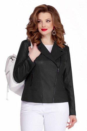 Куртка Куртка TEZA 948 чёрный  Состав ткани: Вискоза-10%; ПЭ-90%;  Рост: 164 см.  Модная кожаная куртка-косуха. Пиджачный воротник, небольшие кокетки и подрез по переду. Застежка на молнию, прорезные