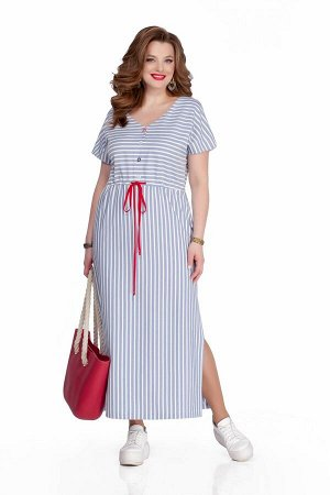 Платье Платье TEZA 1042  Состав ткани: ПЭ-40%; Лён-60%;  Рост: 164 см.  Платье прямого силуэта, отрезное по линии талии, выполнено из ткани в полоску. Рукав короткий со спущенной проймой. Вырез горло
