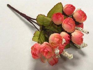 Букет розочек мини 22см цвет оранжево-розовый