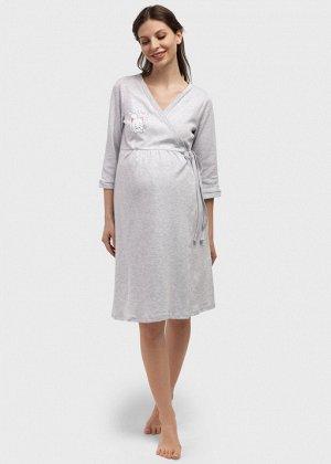 "Халат ""Дарья"" для беременных и кормящих; цвет: серый меланж"