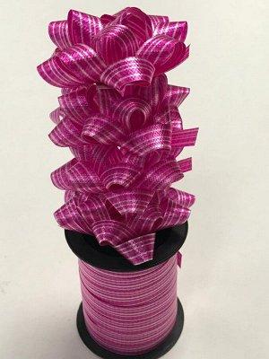 Лента упаковочная с мини-бантиками (4шт) розовый в полоску