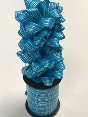 Лента упаковочная с мини-бантиками (4шт) голубой в полоску