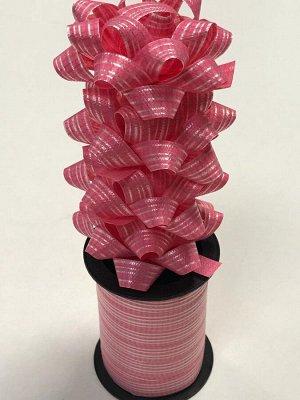 Лента упаковочная с мини-бантиками (4шт) светло-розовый в полоску