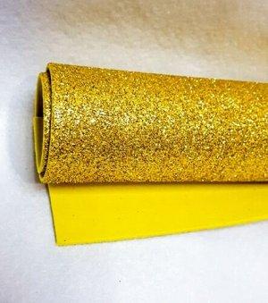 Фоамиран с глиттером а4 золото 1 лист