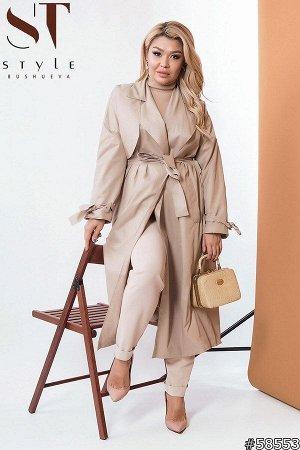 Плащ 58553 Ультрамодный плащ из новой коллекции – прекрасная инвестиция в гардероб современной девушки для демисезонного лука. Модель прямого силуэта, миди длины, завязывается поясом на запах, что под
