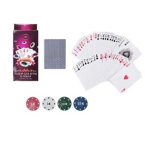 Набор для игры в покер, 24 фишки + дилер+ карты