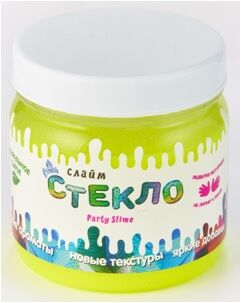"""Лепа Слайм """"СТЕКЛО"""" Party Slime НЕОН желтый, 400 гр  00-00001271"""