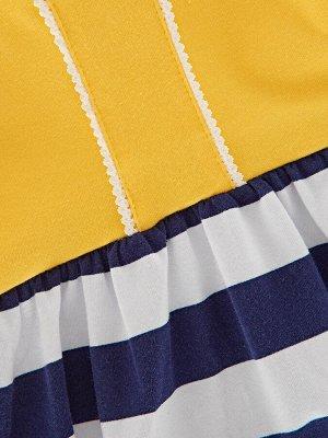 Платье на шнурке (98-122см) UD 1583 полос/желт
