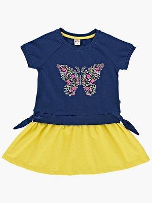 Платье с бабочкой (92-116см) UD 2949(2)синий
