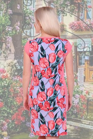 Платье Бренд Натали Ткань: кулирка Платье женское с коротким рукавом, приталенного силуэта. Изящность платью придают вставки по бокам Замеры по данным производителя: Длина изделияДлина рукаваОбъем г