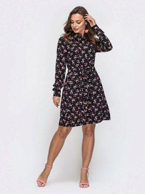 Платье Расклешённое платье из принтованного софта с кулиской на талии.  На модели представлен 44 размер:  длина по спинке – 95 см; длина рукава (от плечевого шва) – 62 см. Материал: Soft Растяжимость: