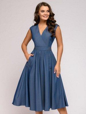 Платье синее длины миди с V-образным вырезом