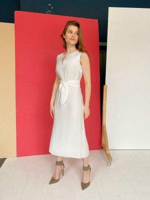 S1658 Платье белое с мерцанием из хлопка