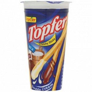 """Бисквитные палочки """"TOPFER"""" с шоколадным и молочным кремом, ТМ """"Frontier"""", 40 гр. СРОК ГОДНОСТИ ДО 19.05.2021"""