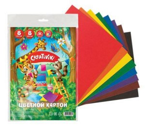 Набор цветного картона А4  8л 8цв 190 г/м2 с европодвесом КЦ8Л8ЦПКР Creativiki {Россия}