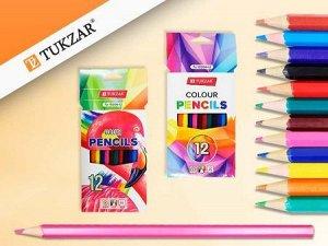 Набор цветных карандашей, шестигранные, 12 цветов, в картонной коробке. Производство Россия.