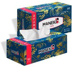 """Салфетки бумажные """"Maneki"""" OCEAN, 2 слоя, белые, 3*250 шт./коробка"""