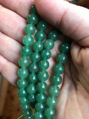 Бусины Авантюрин 8 мм, зеленый, 10 бусин