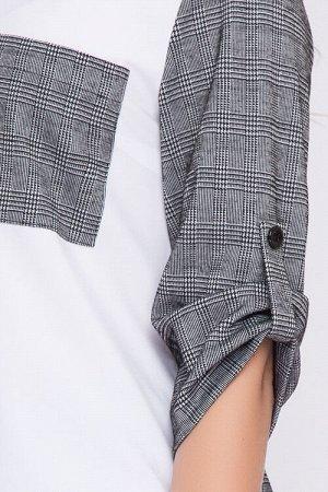Комплект Комплект двух предметный из трикотажного полотна.Комбинированная блуза прямого силуэта,спинка и рукава из трикотажа,полочка из текстильного полотна. Брюки из трикотажного полотна,по поясу рез