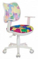 Кресло детское Бюрократ CH-W797/ABSTRACT спинка сетка мультиколор абстракция сиденье мультиколор абстракт колеса белый (пластик
