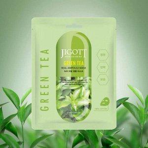 Jigott Green Tea Real Ampoule Mask Ампульная тканевая маска с экстрактом зеленого чая