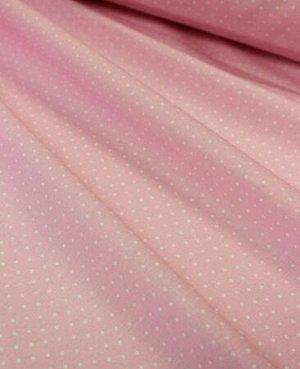 """Поплин """"Очень мелкий горох на розовом"""" , ш.1.5 м, хлопок-100%, 112 гр/м.кв."""