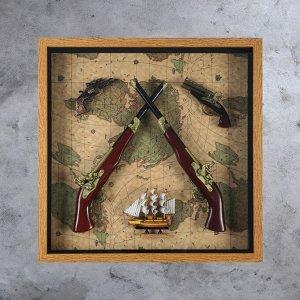 Панно 2 больших и 2 мини мушкета + Корабль на карте мира, 8х70х70 см