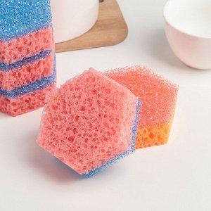 Набор губок для деликатных поверхностей 9.5?8?3 см, 5 шт, цвет МИКС