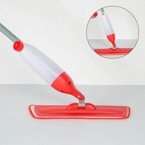 Швабра с распылителем Доляна, стальная ручка 118 см, насадка из микрофибры 40?14 см, ручка МИКС