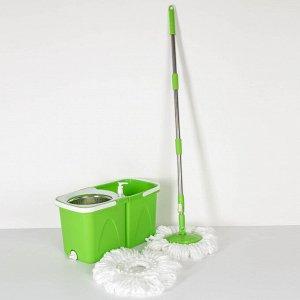 Набор для уборки: швабра, складное ведро с металлической центрифугой 20 л, запасная насадка, цвет МИКС