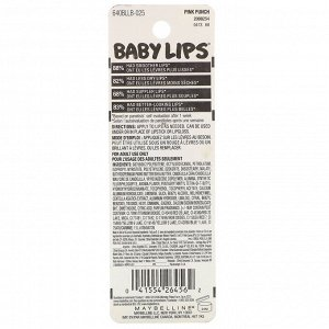 Maybelline, Увлажняющий бальзам для губ Baby Lips, оттенок 25 «Розовый пунш», 4,4 г